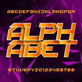 Futuristic alphabet vector font. Oblique type letters and numbers on a polygonal background. Vector typeset for your design royalty free illustration