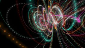 Futuristic animation with glowing particle stripe object in slow motion, 4096x2304 loop 4K. Futuristic video animation with glowing particle stripe object in stock footage