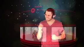 Futuristic animation with a man selecting music on screens Stock Photos