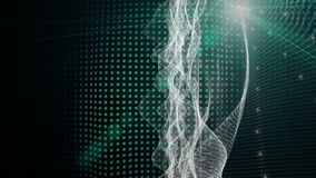 Futuristic animation with moving wave object and lights, loop HD 1080p stock footage