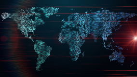 Futuristic animation with moving world map and lights, loop HD 1080p. Futuristic video animation with moving world map and lights, loop HD 1080p vector illustration