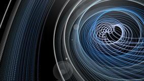 Futuristic animation with particle stripe object and light in motion, loop HD 1080p stock footage