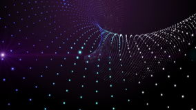 Futuristic animation with particle stripe object and light in motion, loop HD 1080p stock video