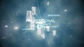 Futuristic animation showing business terms stock footage