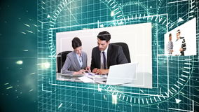 Futuristic animation showing screens with business situations stock footage