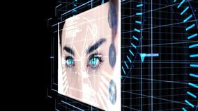 Futuristic animation showing screens with computing scenes stock footage