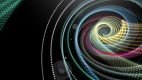 Futuristic animation with stripe object and light in motion, loop HD 1080p. Futuristic video animation with moving particle stripe object and light, loop HD stock video footage
