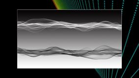 Futuristic animation with wave object and blinking light in slow motion, 4096x2304 loop 4K. Futuristic video animation with wave object and blinking light in stock footage