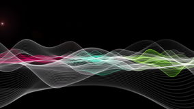 Futuristic animation with wave object and light in motion, loop HD 1080p stock video