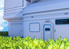 Futuristic Apartments and Leafy Hedge Royalty Free Stock Photos