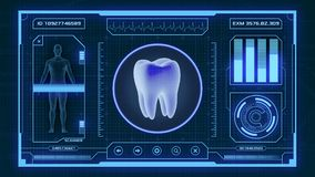 Futuristic medical app. Futuristic app interface for medical and scientific purpose - tooth scanner 3d render Stock Photos
