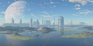 Futuristic aquatic city. Panoramic of a futuristic watery city stock photos