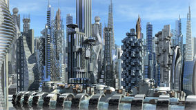 Futuristic architectural city Stock Photos