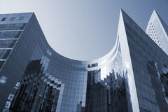 Futuristic architecture. Futuristic corporate office buildings - La Defense, Paris Royalty Free Stock Image
