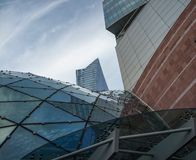 Futuristic architecture in the center of Warsaw royalty free stock image