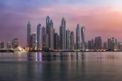 The futuristic architecture of the Dubai Marina royalty free stock photography