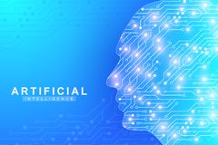 Futuristic Artificial Intelligence and Machine Learning Concept.. Human Big Data Visualization. Wave Flow Communication Stock Image
