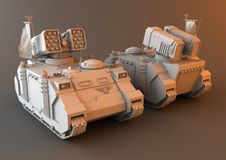 Futuristic Artillery Tank. 3D Render of a Whirlwind Artillery Tank Royalty Free Stock Photo