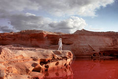 Futuristic astronaut on another planet, image with Stock Images