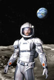 Futuristic astronaut on the moon surface Royalty Free Stock Images