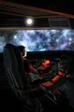Futuristic astronaut pilot and starfield nebula Stock Photography