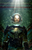 Futuristic astronaut in space suit. 3D render science fiction illustration Stock Image
