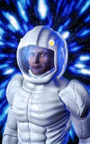 Futuristic astronaut in white space suit Royalty Free Stock Photos