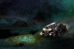 Futuristic ATV  the great Martian desert Royalty Free Stock Photography
