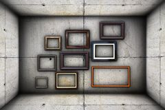 Futuristic backdrop with frames on concrete Royalty Free Stock Images