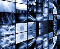 Futuristic background. Of wall of screens Royalty Free Stock Images