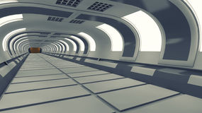 Futuristic background architecture corridor. Royalty Free Stock Image