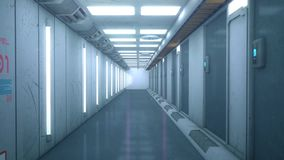 Futuristic background architecture corridor.