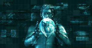 Futuristic Background with Businessman and Globe in Hands stock footage