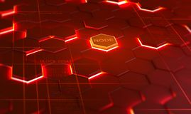 Futuristic background consisting of flaming hexagons arranged on a plane. Conceptual 3D illustration on the topic of cyberspace. Protection and data transfer royalty free illustration