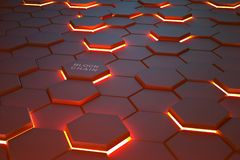 Futuristic background consisting of flaming hexagons arranged on a plane. Conceptual 3D illustration on the topic of cyberspace. Protection and data transfer stock photos