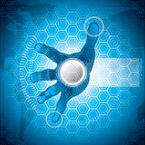Futuristic background. A hand over a hi-tech screen.A future technology Royalty Free Stock Photography