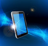 Futuristic background with a mobile phone Royalty Free Stock Image