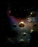 Futuristic background with molecules black. Abstract stock illustration