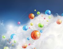 Futuristic background with molecules Royalty Free Stock Photos