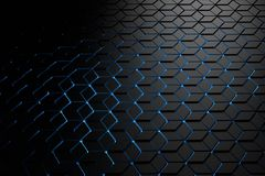 Futuristic background with a pattern of hexagons in dark colors. Futuristic background with a pattern of hexagons made of rhombuses illuminated by blue light vector illustration