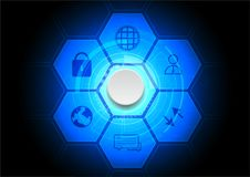 Futuristic background. Seven hexagons with six icons and a butto. N in the middle Stock Image