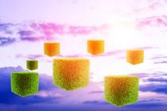 Futuristic background sky. Grass cubes Stock Photo