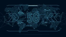 Futuristic background for technology 5G with polygons connection structure and world map in pixels. Technology concept. Modern futuristic background for vector illustration