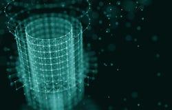 futuristic bakgrund illustrationen 3d framför abstrakt arkitektur Utrymmekonstruktion Mörk science fictionbakgrund Prickar och Fotografering för Bildbyråer