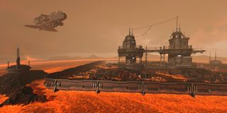 3D Illustration of a futuristic base on an alien planet stock illustration
