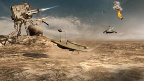 Futuristic battle robot. Futuristic battle scenery with robot and flying machines Stock Photography