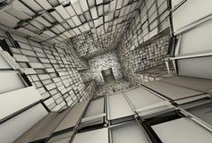 futuristic belagd med tegel labyrintinterior för mosaik 3d Arkivbild