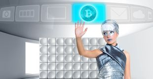 Futuristic Bitcoin BTC girl in silver touch finger screen. Futuristic Bitcoin BTC girl in silver touch finger glass screen hologram royalty free stock photos