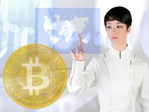Futuristic Bitcoin BTC woman touch screen royalty free stock photo