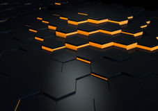 Futuristic Black Reflective Surface Abstract 3d Render Royalty Free Stock Photos